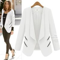 Price: $36.45 | Product: Long Personality Zipper Pocket Long Sleeve Single Button Slim Blazer | Visit our online store https://ladiesgents.ca