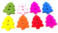 Assorted Colours Wood Christmas Tree Buttons. Pack of 50 Wooden Mix Xmas Buttons. £2.99