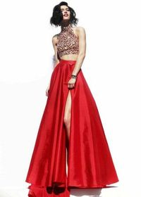 Sherri Hill 32020 Long Red Halter Beaded Two Piece Back Party Dress