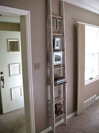I've seen many different ladders used for photo displays and shelving, they are usually distressed in one way or another. I've had an old ladder sitting in the
