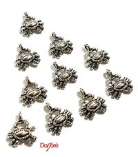 Pack of 20 Mini Silver Coloured Crab Charms. Spider Halloween Nature Theme Pendants. 12mm x 15mm £2.59