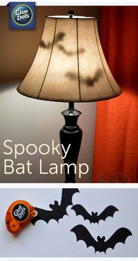 Make a Bat Lamp Halloween Decoration for your home with paper bats and Removable #GlueDots