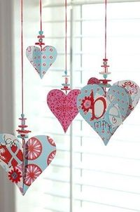 DIY Paper and Beaded Heart Ornaments to hang in a window for Valentine's Day :)