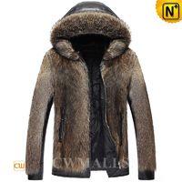 Fur Leather Jacket | Custom Mens Raccoon Fur Parka CW890317 | CWMALLS.COM
