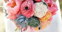 peony and succulent