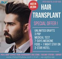 Hair Transplant Special Offers in Chandigarh at JBOC. Offer available limited time. https://www.thejollitybox.com/