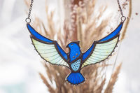 Big Hawk Necklace Blue stained glass Pendant Fairytale Gifts Bird Necklace Hawk Eagle Necklace Thunderbird Pendant stained glass suncatcher $57.00