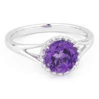 1.31ct Round Brilliant Cut Amethyst & Diamond Halo Promise Ring in 14k White Gold