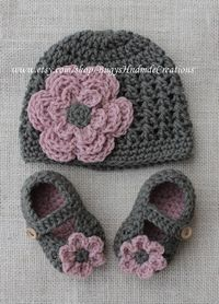 Girls Cross Stitch crochet Hat and crochet baby shoe set.Dark Grey.. $35.00, via Etsy.