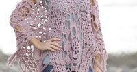 #Crochet DROPS poncho with lace pattern in squares in 2 strands �€Belle�€. Free Pattern
