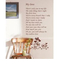 """Description: Size : 19.2"""" x16.2"""" ( 49cm x 92cm ) Category : Quotes Wall Sticker Material : Vinly Wall Sticker Room :bedroom, living room, office Color:Brown Includes:Words, Flower, Bear"""