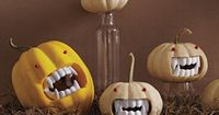 HILARIOUS! And it saves the carving time of an entire face! A battery operated candle and you can one up this quick and cute craft! Gourds are typically cheaper than pumpkins, and you can get the vampire teeth at your nearest dollar store. pumpkin-monster...