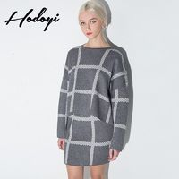 Must-have Oversized Vogue Solid Color Slimming Scoop Neck Lattice Fall 9/10 Sleeves Sweater - Bonny YZOZO Boutique Store