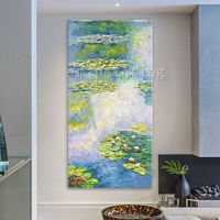 Monet Water painting Oil paintings on canvas original art lotus pond large wall art Wall Pictures home decor Hand painted cuadros abstractos $99.00