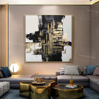 Framed painting abstract water Reflections Paintings on canvas Gold and black acrylic painting canvas art wall pictures home decor $129.00