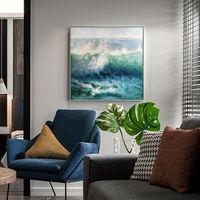Original sea waves Painting on canvas art Modern abstract texture Green painting acrylic large wall pictures home decor cuadros abstractos $79.00