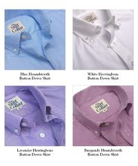 Pack of 4 Houndstooth and Herringbone 2 Ply Premium Giza Cotton Regular Fit Button Down Shirt Combo �'�5999.00