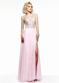 Long Floral Lace Ice Pink Illusion Back High Slit Prom Dress 2015