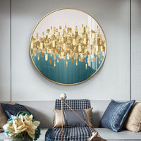 Framed wall art Gold art green abstract floral painting acrylic Paintings on canvas wall pictures extra large Circular painting $609.00