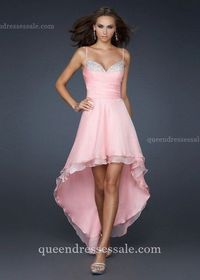 Cheap High-Low Spaghetti Strap Sparkle Bust Prom Dresses Pink