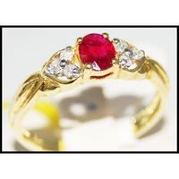 14K Yellow Gold Solitaire Genuine Ruby Diamond Ring [RR063]