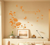 Love Quotes with Flowers Wall Stickers