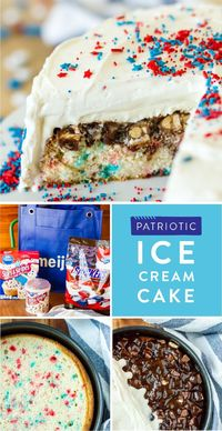 """Ready for a dessert that will feed the crowd at your 4th of July party?! This recipe for a Patriotic Ice Cream Cake is a delicious combination of Pillsbury�""""� Funfetti® Stars & Stripes® Cake Mix and Vanilla Flavored Frosting, Snickers® Brand R..."""