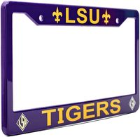 LSU Tigers Fleur De Lis License Plate Frame - Purple - NCAA Car Accessory - Slim Design $19.99
