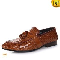 Cwmalls Mens Woven Leather Dress Loafers Shoes CW750068