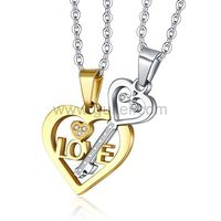 Gullei.com Key in Heart Custom Made Couples Necklaces gift https://www.gullei.com/couples-gift-ideas/matching-couple-necklaces.html