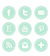 Mint Dot Stitch Social Network Icons--good for my portfolio!