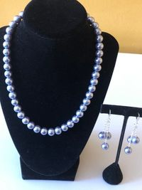 Pearl necklace and drop earrings set $28.00
