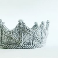 Silver Gray Lace Knit Knight Crown - Boy Headband Crown for Dress Up, Pretend Play, Adventure Play