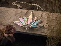 Big Lotus 7 wings, Boho Lotus, Flower Pendant, Mantra Necklace, Glass Lotus Necklace, Iridescent necklace, Stain glass, Handcraft, Handmade $55.00