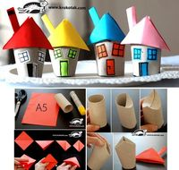 Toilet paper tube houses. So cute!