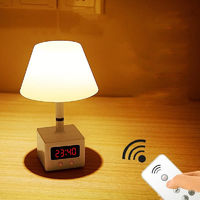 LED Remote Control Desk Lamp USB Charging with Clock Table Lamp Dimmable Bedroom Bedside Night Light