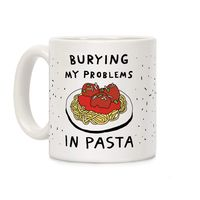 Who do you know who would love this? Burying My Problems In Pasta Ceramic Coffee Mug Handcrafted in the USA! $14.99