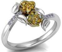 2nd Anniversary Ring Two Yellow Roses Forever Ring Leaves Ring Unique Diamond Ring Art Nouveau Floral ring Anniversary Gift $805.00