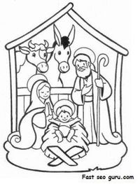 Printable Nativity Coloring Pages - Coloring Home | 263x200