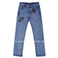 Classic Washed Blue Leather Chrome Hearts Cross Jeans Sale