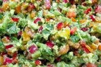 "3 avocados, pitted, peeled and diced juice from 2 limes 1/2 �€"" 3/4 teaspoon Himalayan crystal salt 1 medium heirloom tomato, diced* 1 medium red bell pepper, de-"
