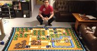 """Only one thing takes longer than beating """"Super Mario Bros. 3"""": crocheting a blanket of the game for SIX. WHOLE. YEARS. Norwegian programmer Kjetil No..."""