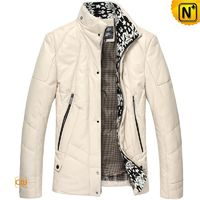 Leather Down Jacket | Mens Quilted Leather Down Jacket CW818008 | CWMALLS.COM