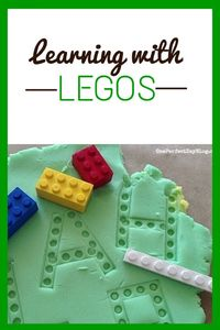 Lego and play dough are two of my son's favorite ways to play. What could be more fun than combining the two? I set up a very simple invitation to play wi