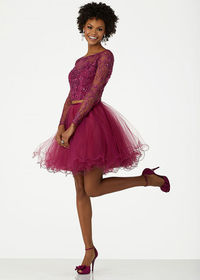 Two Piece Fuchsia Floral Embroidered Square Back Satin Short Prom Dress