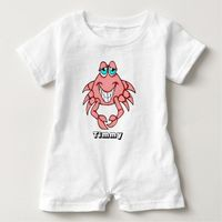 Personalized Smiling Crab Baby Romper
