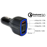QC3.0 Dual USB Fast Charge Type-c Car Charger