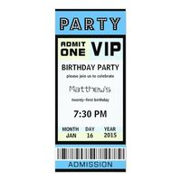 Ticket 21st Birthday Party Invitations Blue