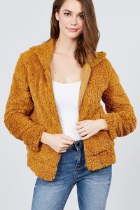 Hoodie Side Pocket Faux Fur Zip-up Jacket $26.01