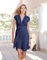 Navy Knot Front Short Sleeved Maternity Dress   Seraphine Maternity